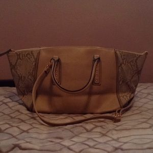 Nude and grey Python Aldo tote bag